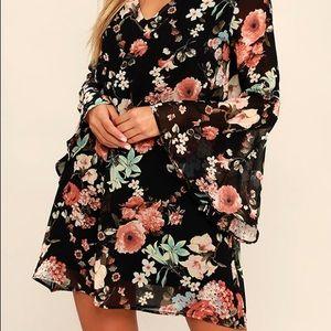Black Floral Print Choker Shift Dress